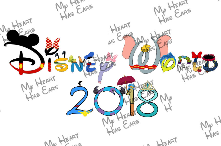 Disney World 2018 In Character Word Text INSTANT DOWNLOAD Digi.
