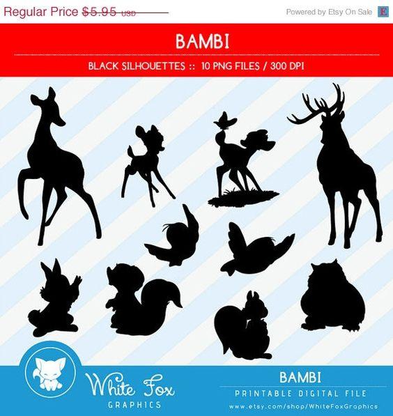 Bambi Silhouettes, Disney Bambi Silhouette, Disney Clipart, Deer.