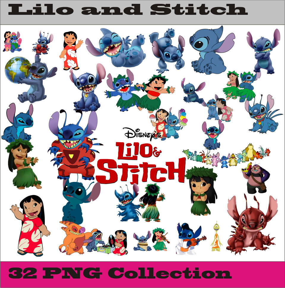 Lilo and stitch Collection PNG Vector Instant Download Disney.