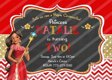 Disney Princess Elena of Avalor Birthday Invitation.
