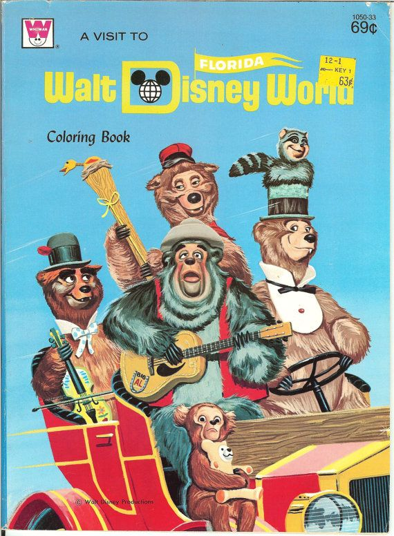 17 Best Images About Country Bear Jamboree On Pinterest Vintage 1971 Walt Disney World Coloring Book