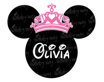 Minnie with Princess Crown Printable Iron On Transfer or Use as.