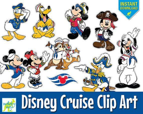 Disney Cruise Digital Clip Art with Mickey, Minnie, Donald, Pluto.