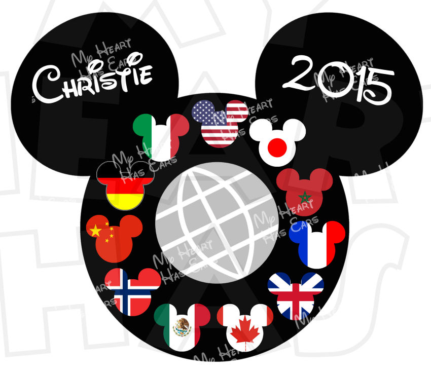 Epcot Countries Mickey Mouse Head ears INSTANT DOWNLOAD digital.