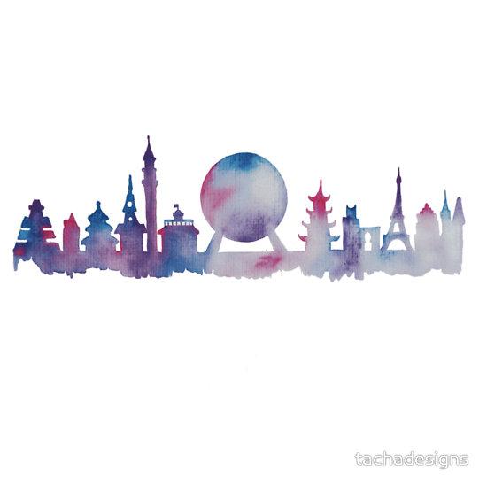 Orlando Future Theme Park Inspired Skyline Silhouette.