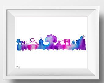 ORIGINAL Ink Painting EPCOT Disney World Skyline Silhouette.