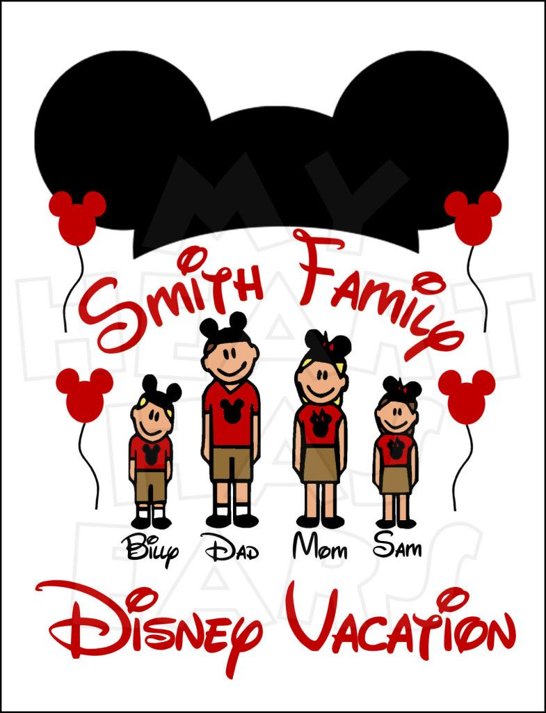 Custom Stick Figures Disney World Family Vacation digital.