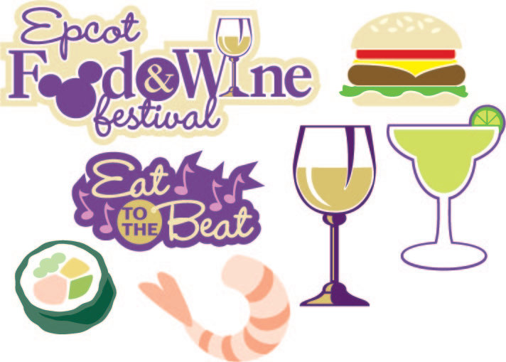 Digital SVG/JPG Epcot Food and Wine Festival die cuts.