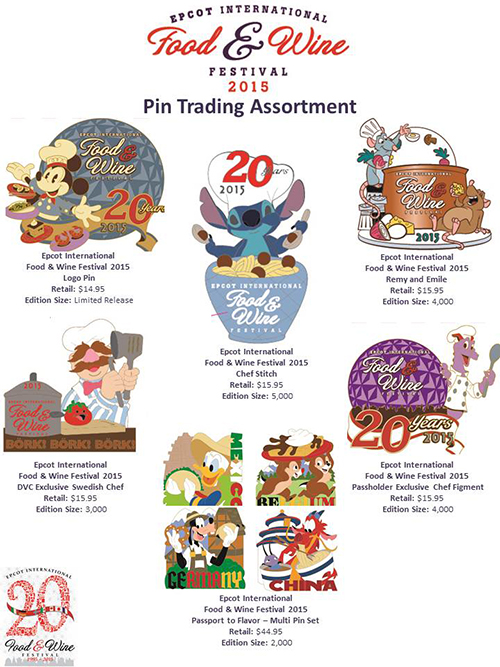Details On Epcot's Food & Wine Festival Pin Releases — DISKINGDOM.