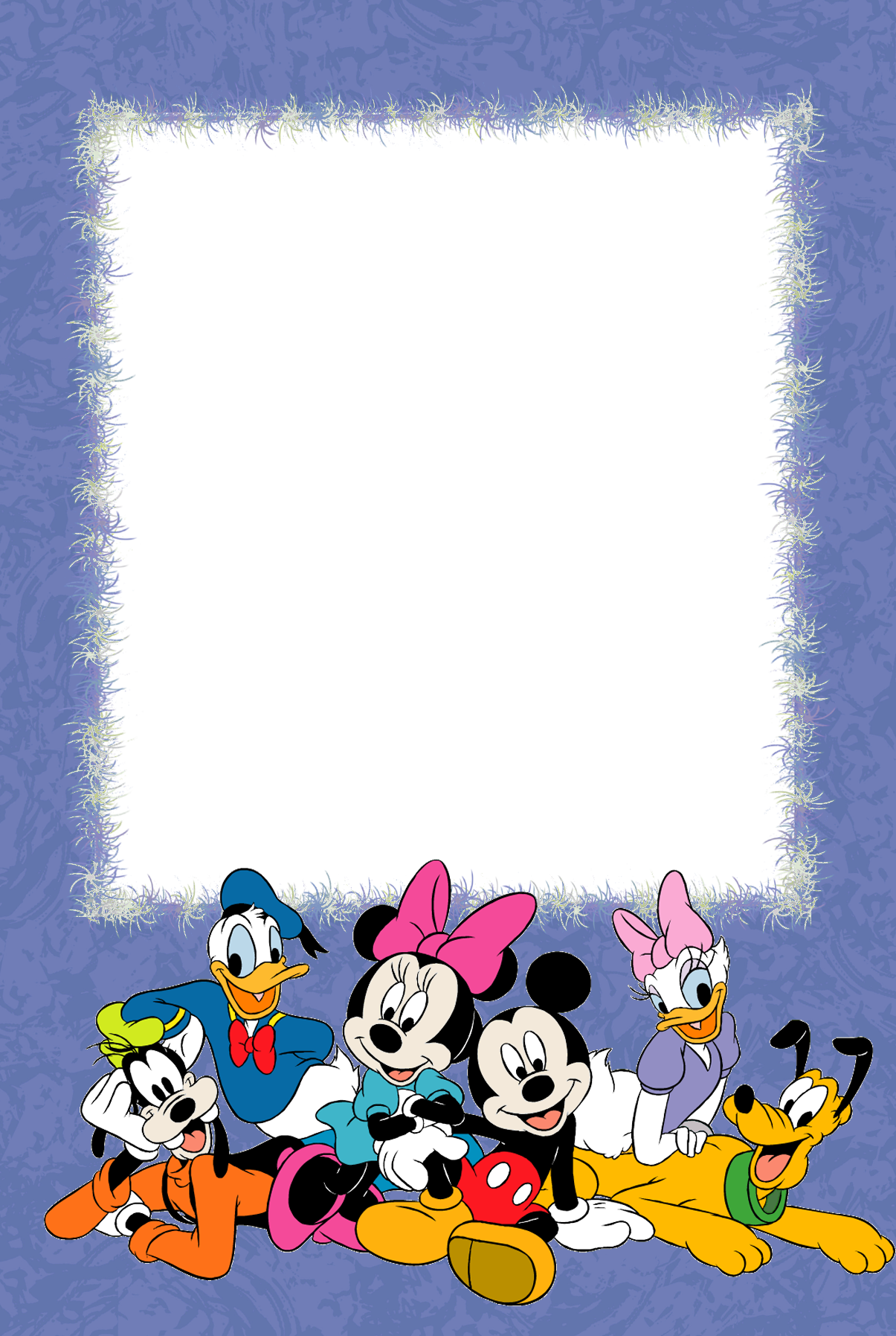 Purple PNG Kids Photo Frame with with Disney Characters.