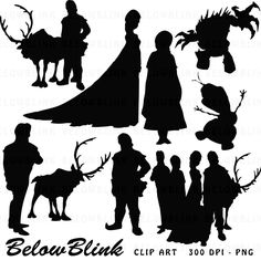 Disney Princess Silhouette JPG Black and White Clip Art Icons.