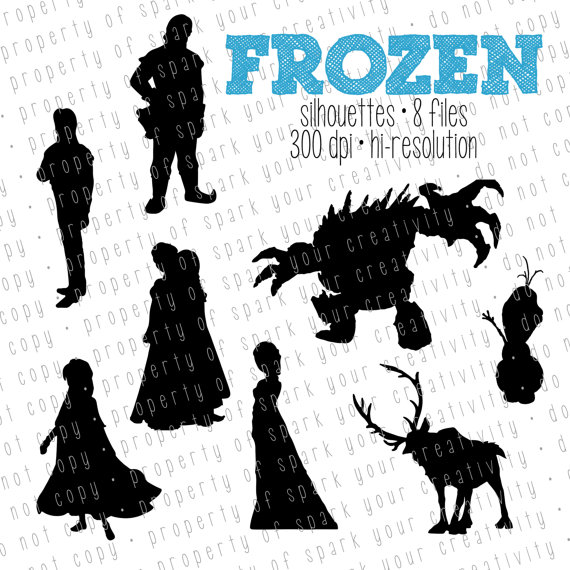 Frozen Silhouettes // Disney Princess Elsa and Anna Silhouette.