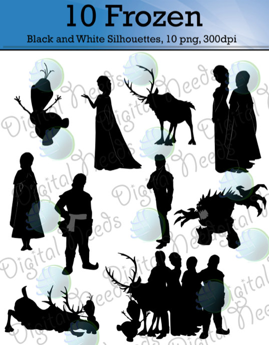 10 Frozen Silhouettes / png and SOURCE files / Disney Silhouettes.