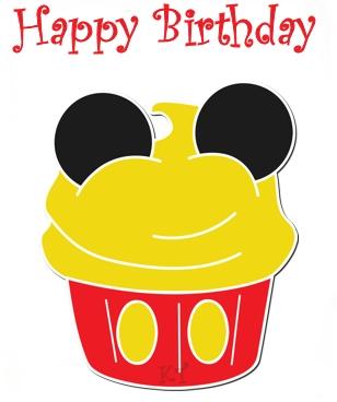Disney Birthday Cupcake Clipart.