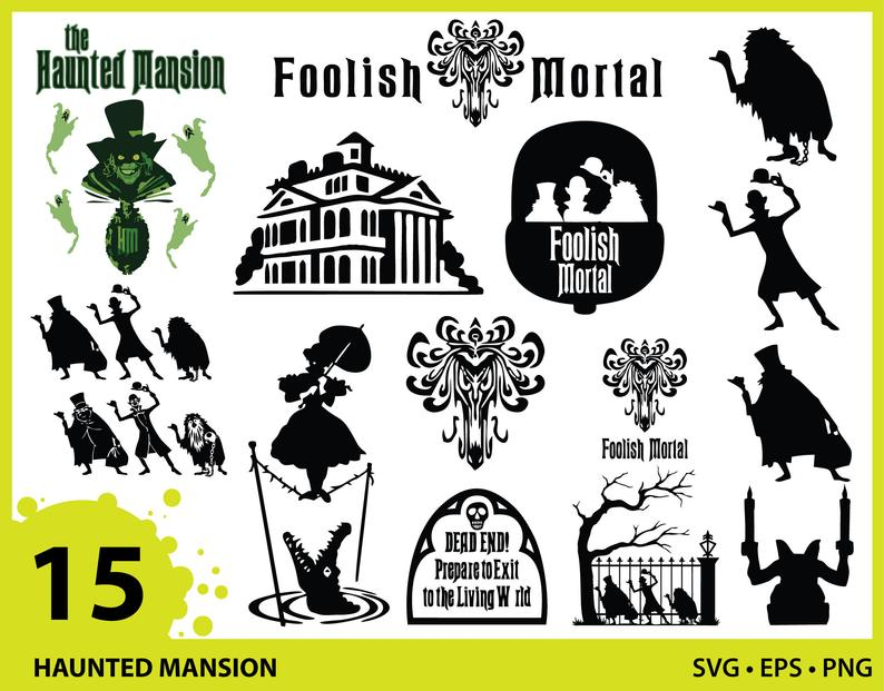 Haunted Mansion, Haunted Mansion svg png eps, Haunted Mansion logo svg,  Hitchhiking Ghost svg, Ghost silhouette, Halloween svg, Disney Movie.