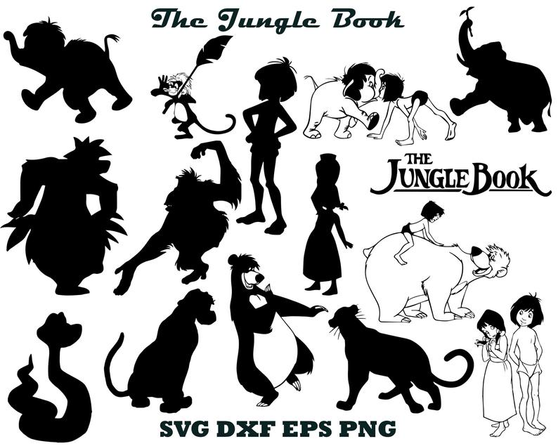 The jungle book svg, Jungle book clip art, Disney svg Mowgli svg, Mowgli  silhouette, Jungle book dxf Jungle book cut file Jungle book cricut.