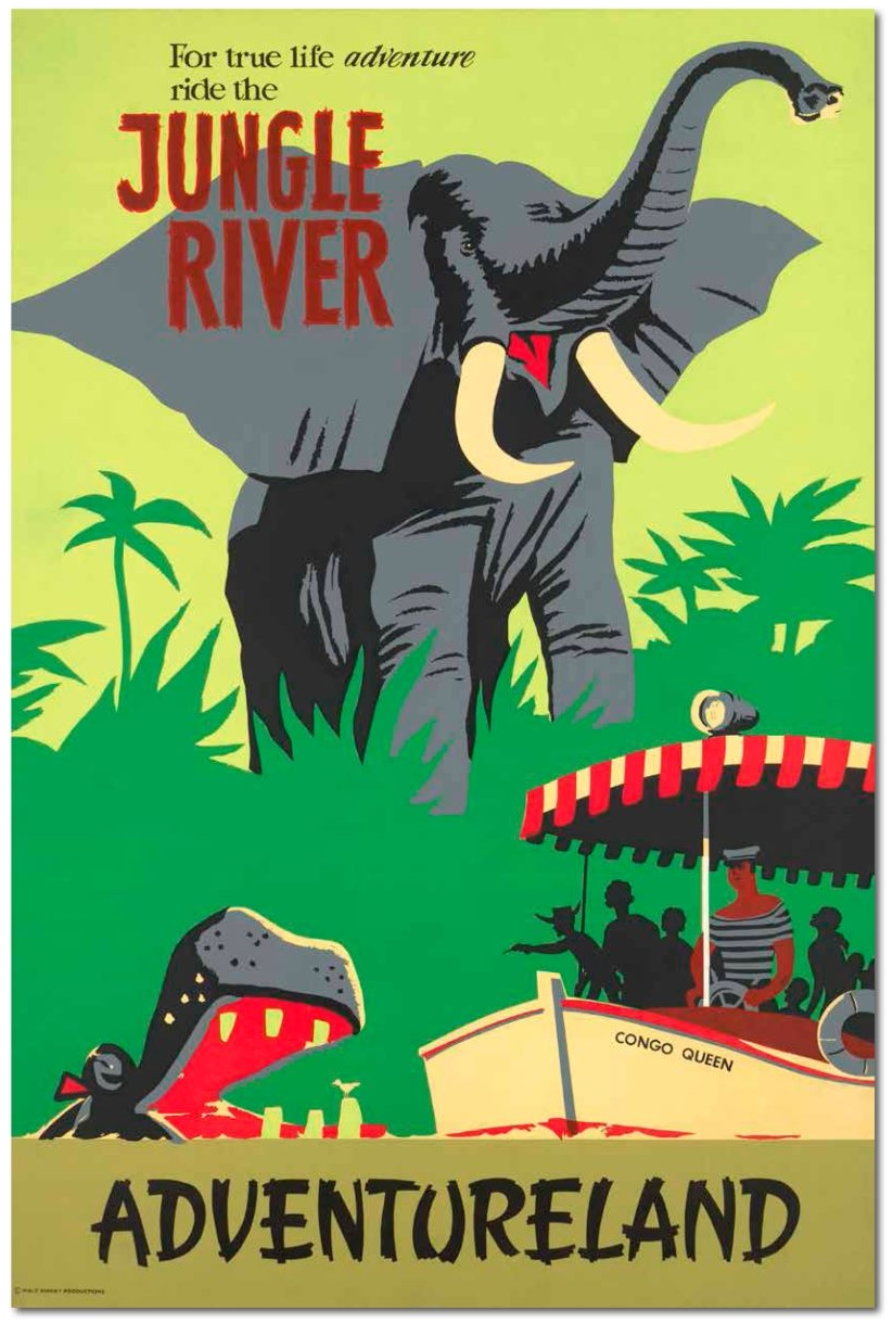 Jungle River Cruise, Adventureland, Disneyland, 1955. Artist.
