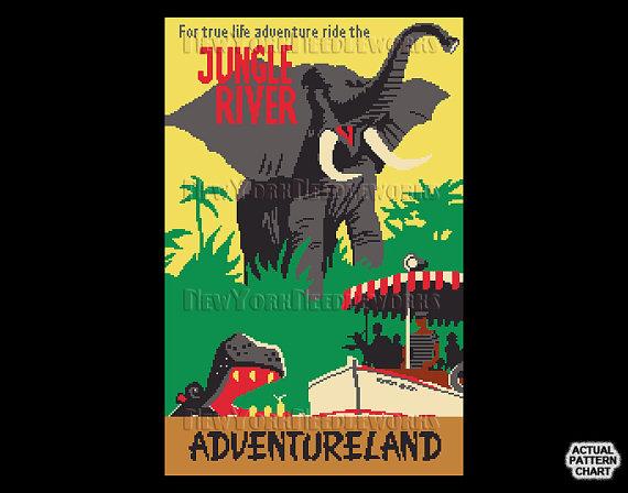 Vintage Jungle River Cross Stitch Jungle Cruise Pattern.