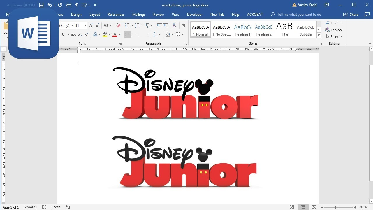 How to create Disney Junior logo in Microsoft Word (Tutorial).