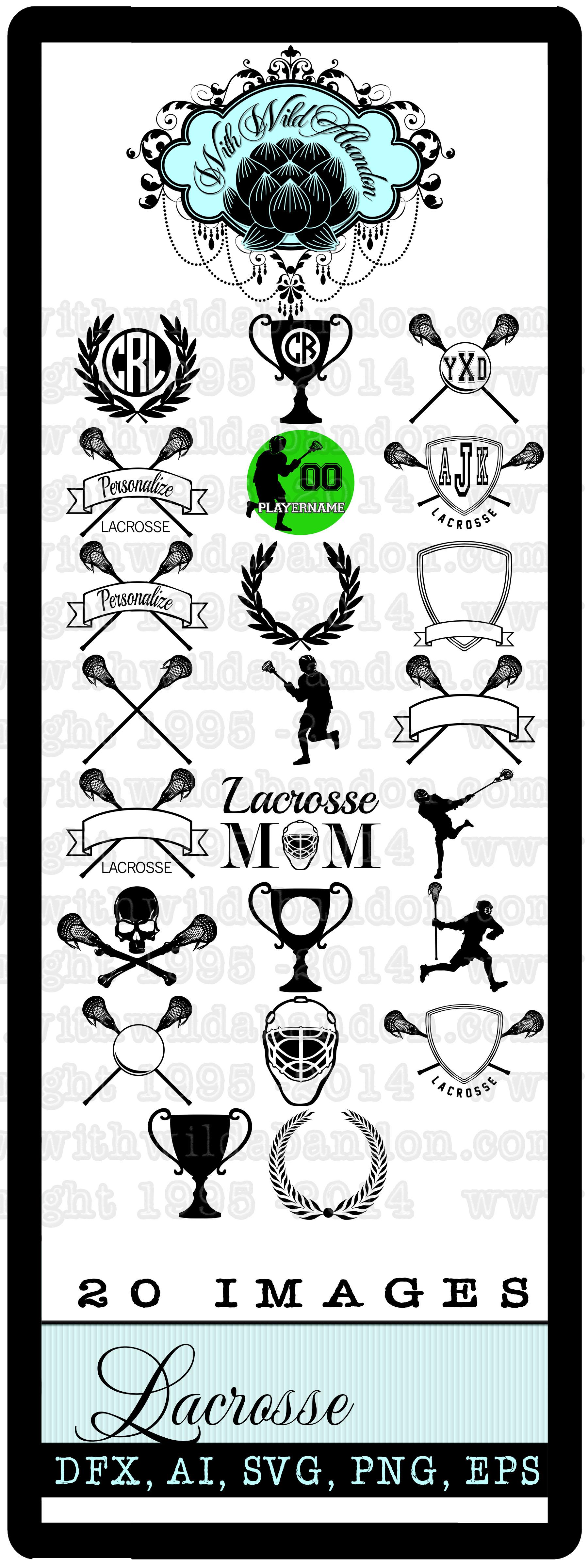 Lacrosse Clipart, Lacrosse Monogram, Lacrosse Cut File, Lax.