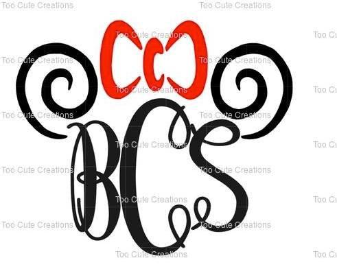 Girls Minnie Mouse Swirl Monogram Shirt, Disney Monogrammed Shirt.