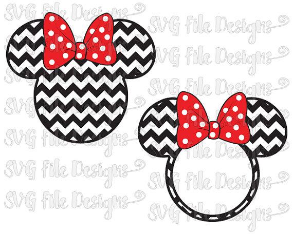 Minnie Mouse Chevron Monogram Ears with Polka Dot Bow Disney.