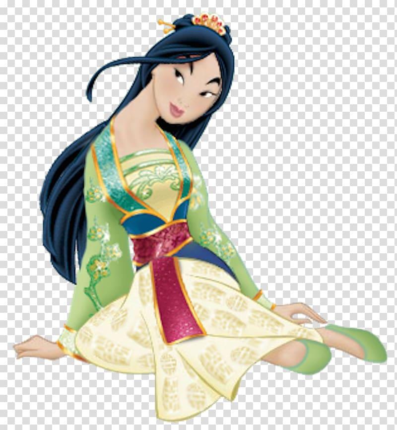 Disney Mulan character wearing green dress illustration, Fa Mulan.