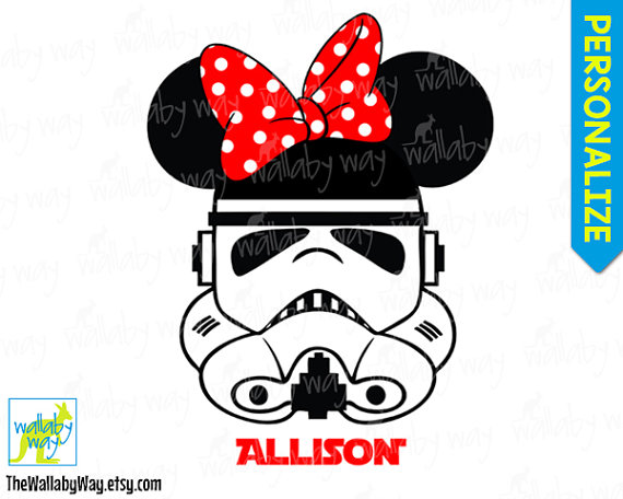Stormtrooper Star Wars Minnie Hot Pink Bow Printable Disney.