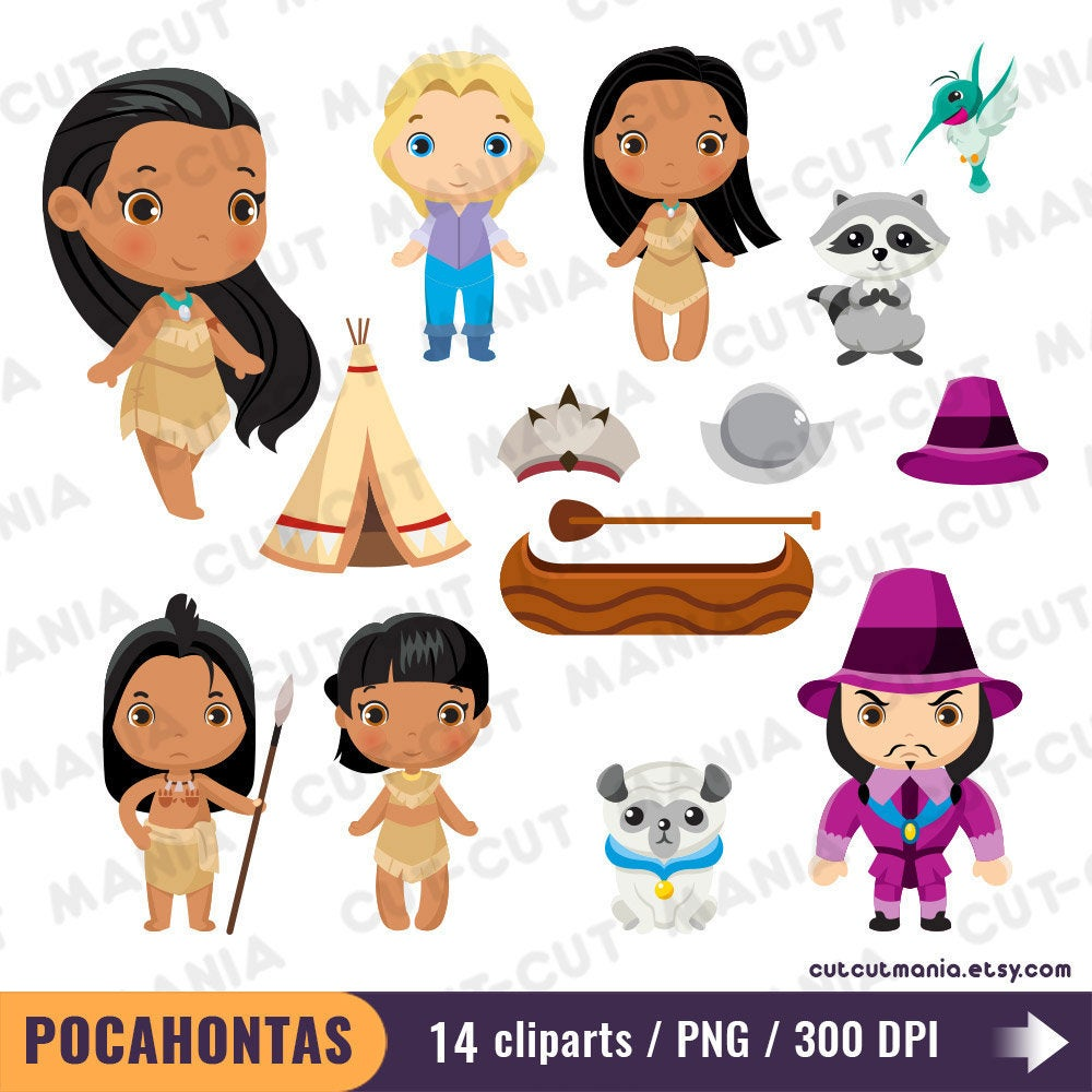 Disney Pocahontas Clipart set, Princess Pocahontas clip art, Native  American Princess cute clipart, Indian Princess, Printable, PNG 300 dpi.