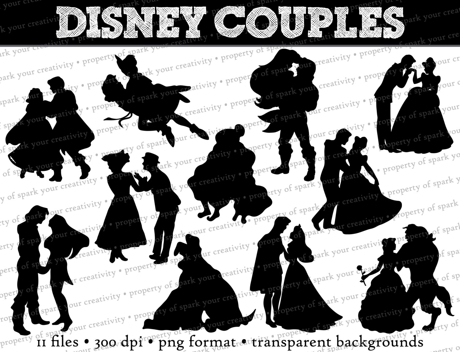 Disney Princess and Prince Silhouettes // Disney Couples.