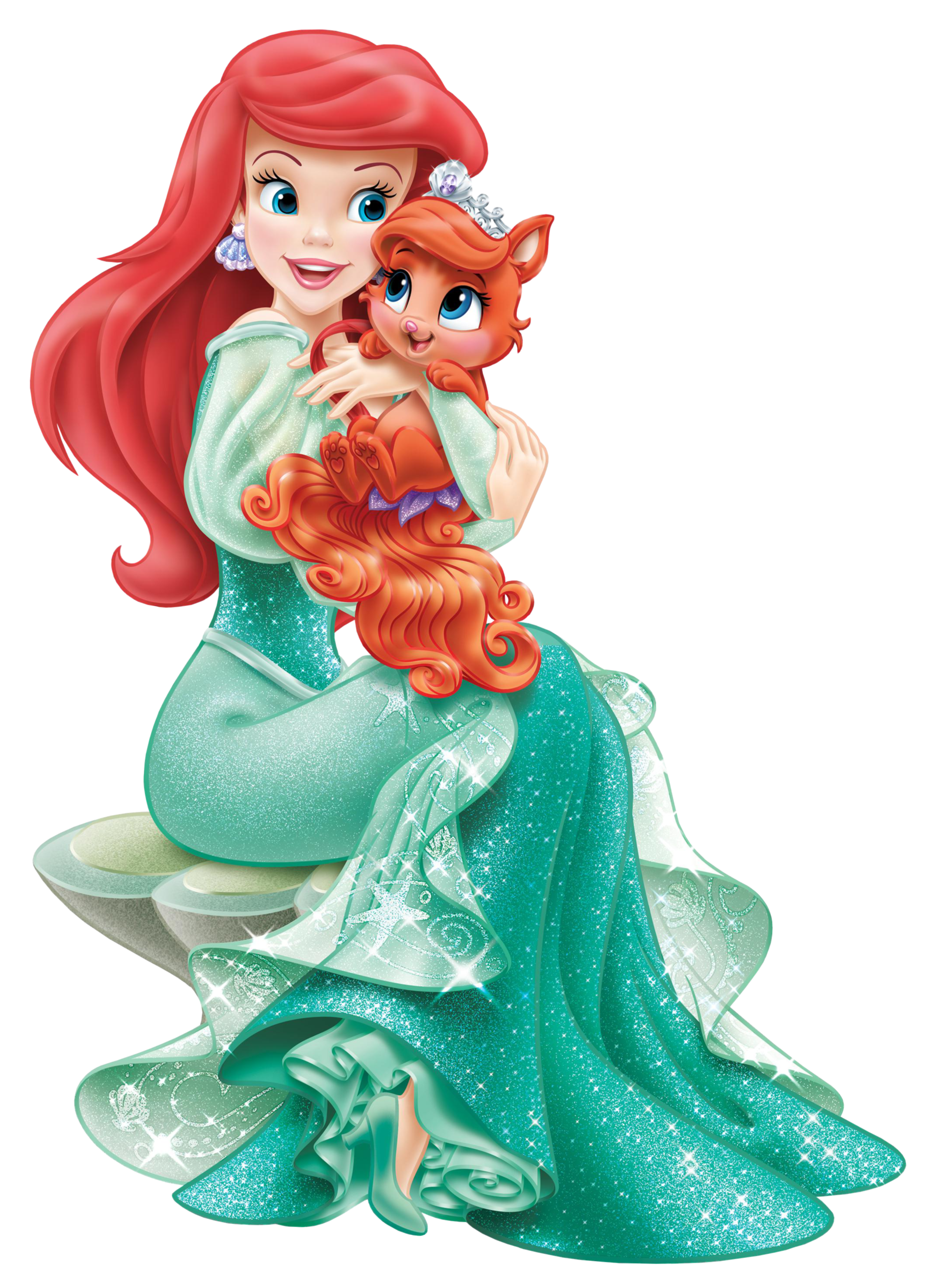 Disney Princess Ariel with Cute Kitten Transparent PNG Clip Art.