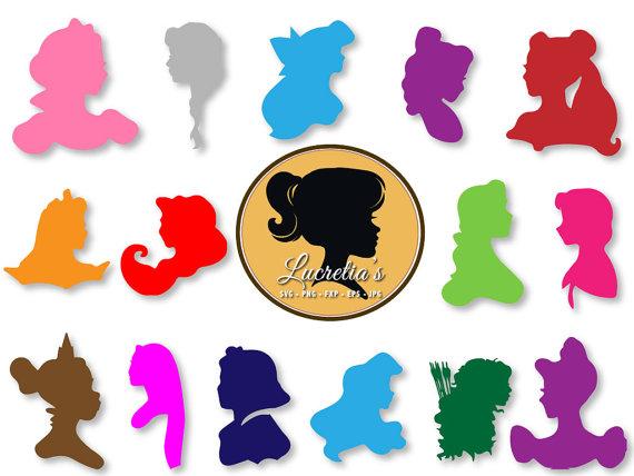 Disney princess silhouette dxf, Princess clipart, SVG files for.