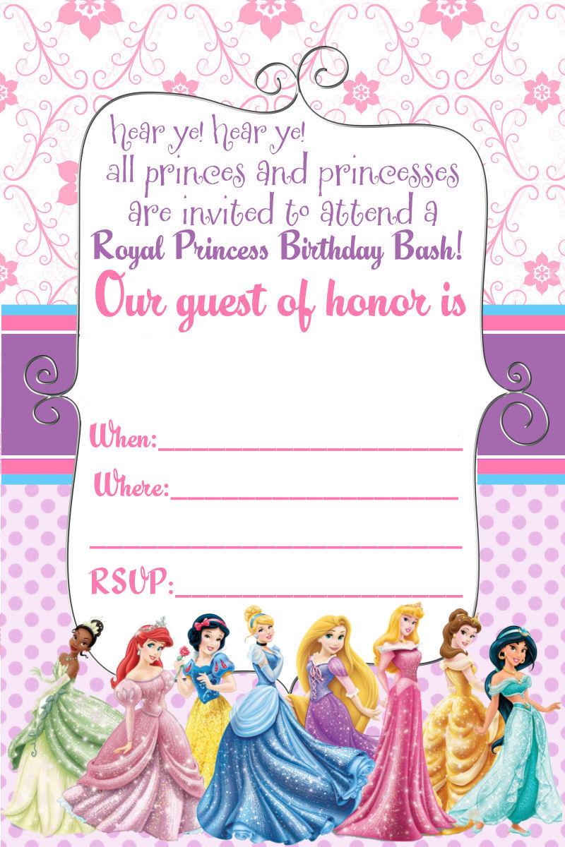 FREE Disney Princess Invitation and Thank You Card.