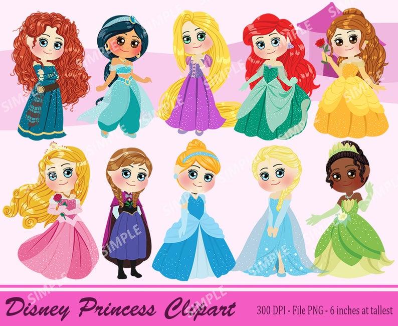Disney Princess ClipArt, Princess Clipart, Disney Princess Chibi, Elsa,  Anna, Rapunzel, Ariel, Aurora, Brave, INSTANT DOWNLOAD.