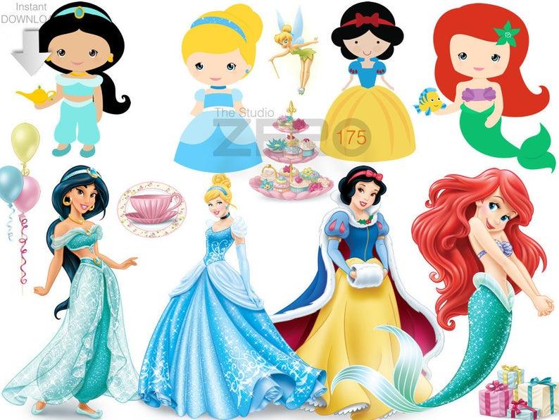 175 Disney Princesses N Baby Princess Clipart, Instant Download, 300DPI.