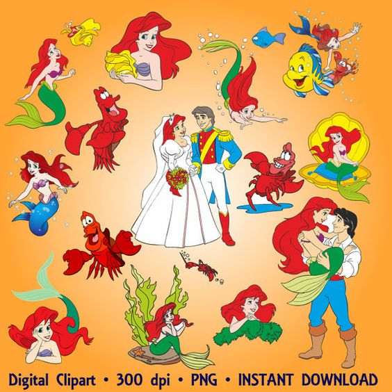 The Little Mermaid Clipart Sea Party Ariel Clip Art Set 25 PNG.