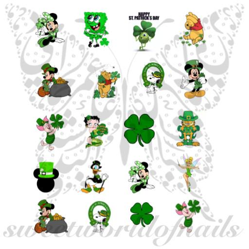 Disney Cartoon Saint Patrick's Day Nail Art Water Decals Collection.