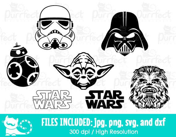 Star Wars SVG, Storm Trooper Darth Vader Yoda Chewbacca BB8 SVG.