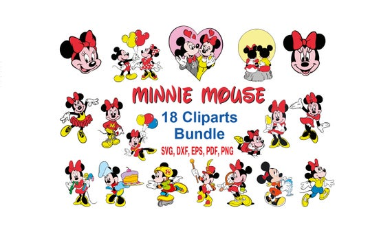 Minnie Mouse Bundle SVG 18 Cliparts Minnie Mouse, Disney vector clipart,  cut file for Silhouette Cameo or Cricut or transfer iron on.