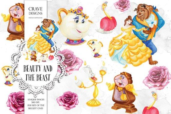 Beauty and The Beast Watercolor Clip Art Disney Clip Art Disney.