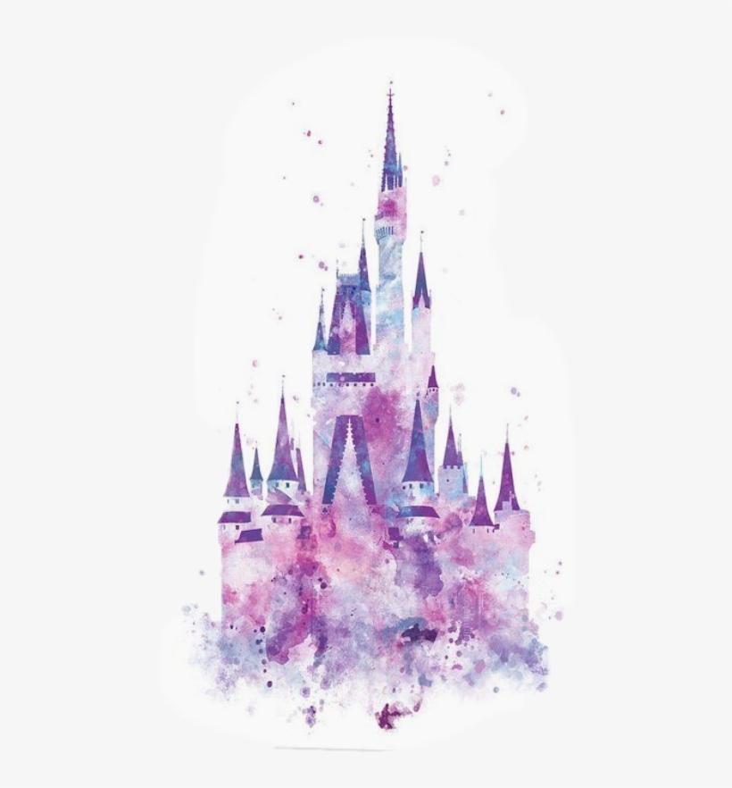 Watercolor Disney Castle Silhouette Transparent PNG.