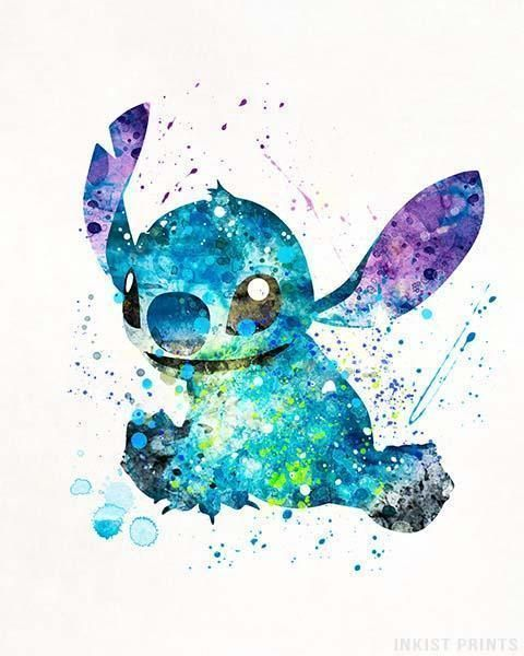 Stitch, Lilo and Stitch Disney Watercolor Print. Prices from $9.95.