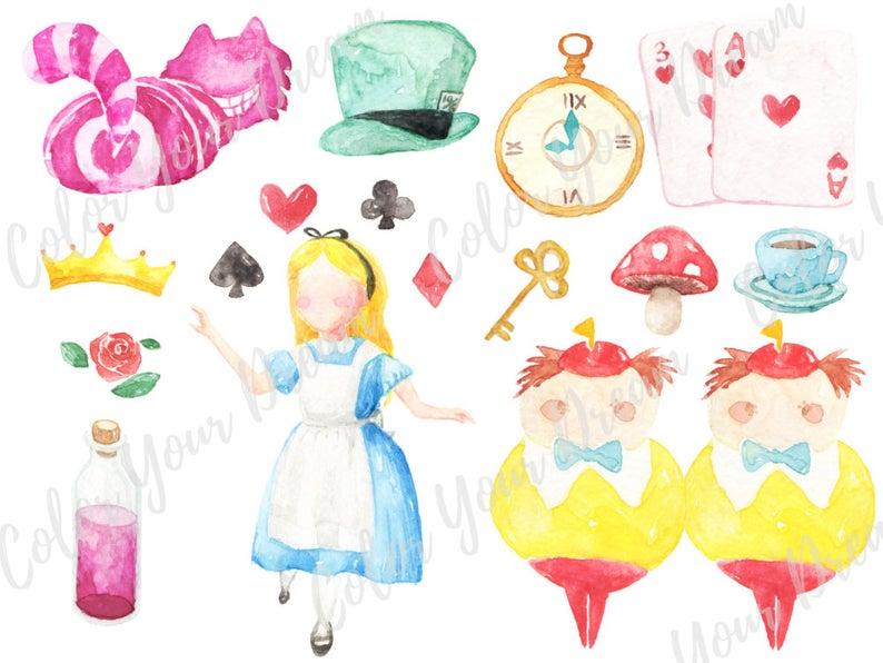 Alice in the Wonderland Watercolor Clipart Digital Disney tea party  Download decoration digital kids birthday invitation printable print.