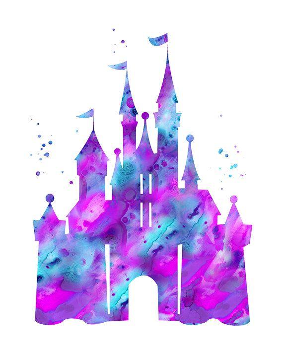 Cinderella castle print, Disney castle, princess castle print.