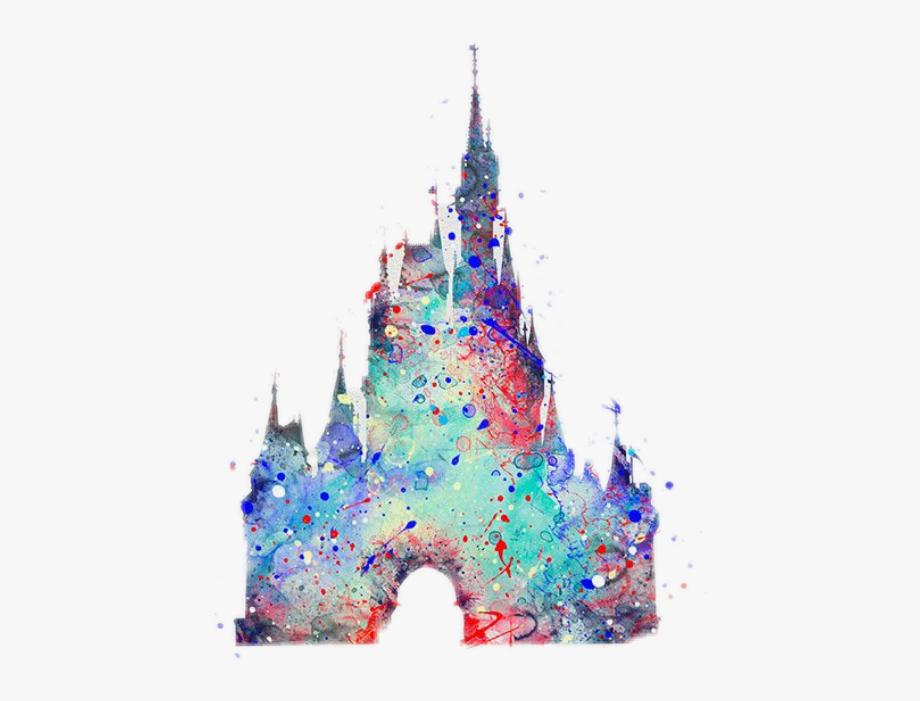 disney #castle #cinderella #colorful #pretty #splatter.