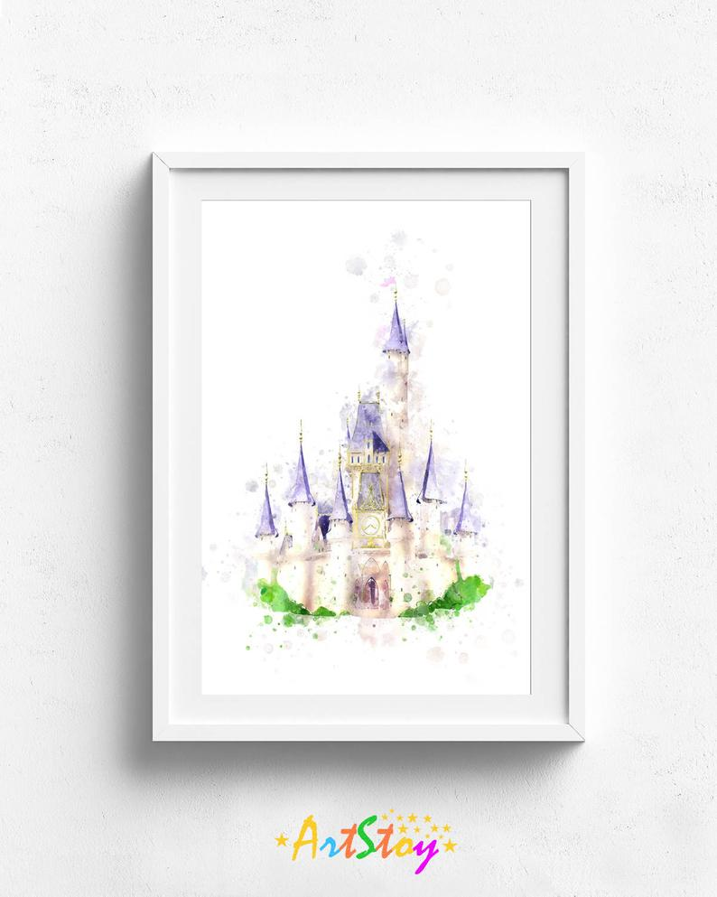 Disney castle, disney castle print, disney art, disney poster, disney  watercolor, disney castle poster, disney art print, disney clipart.