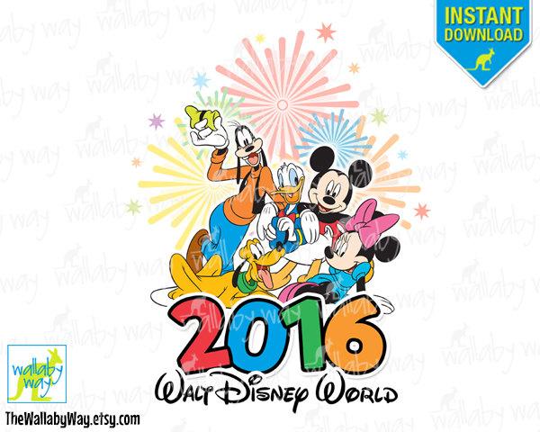 Disney World 2016 Fab 5 Printable Iron On Transfer or as Clip Art.