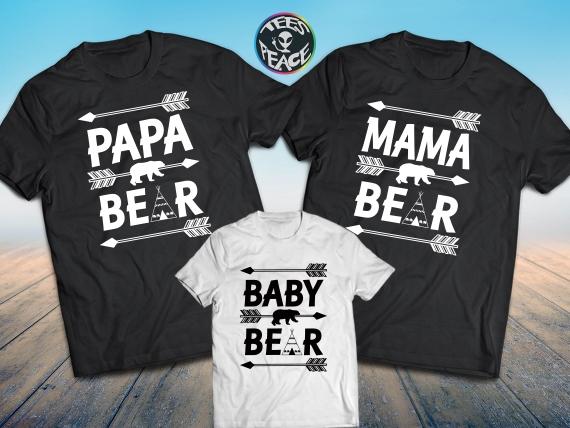 Papa Bear, Mama Bear, Baby Bear, Bears family, matching family.