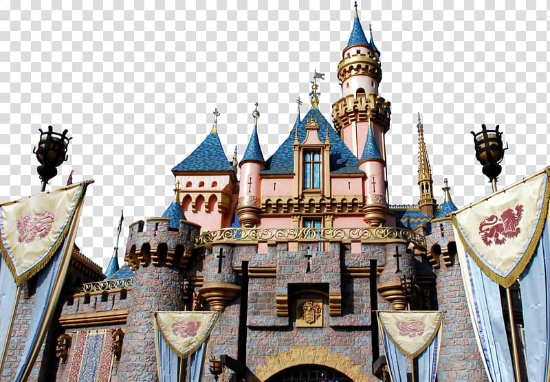 Pink and blue castle , Sleeping Beauty Castle Disneyland Drive.