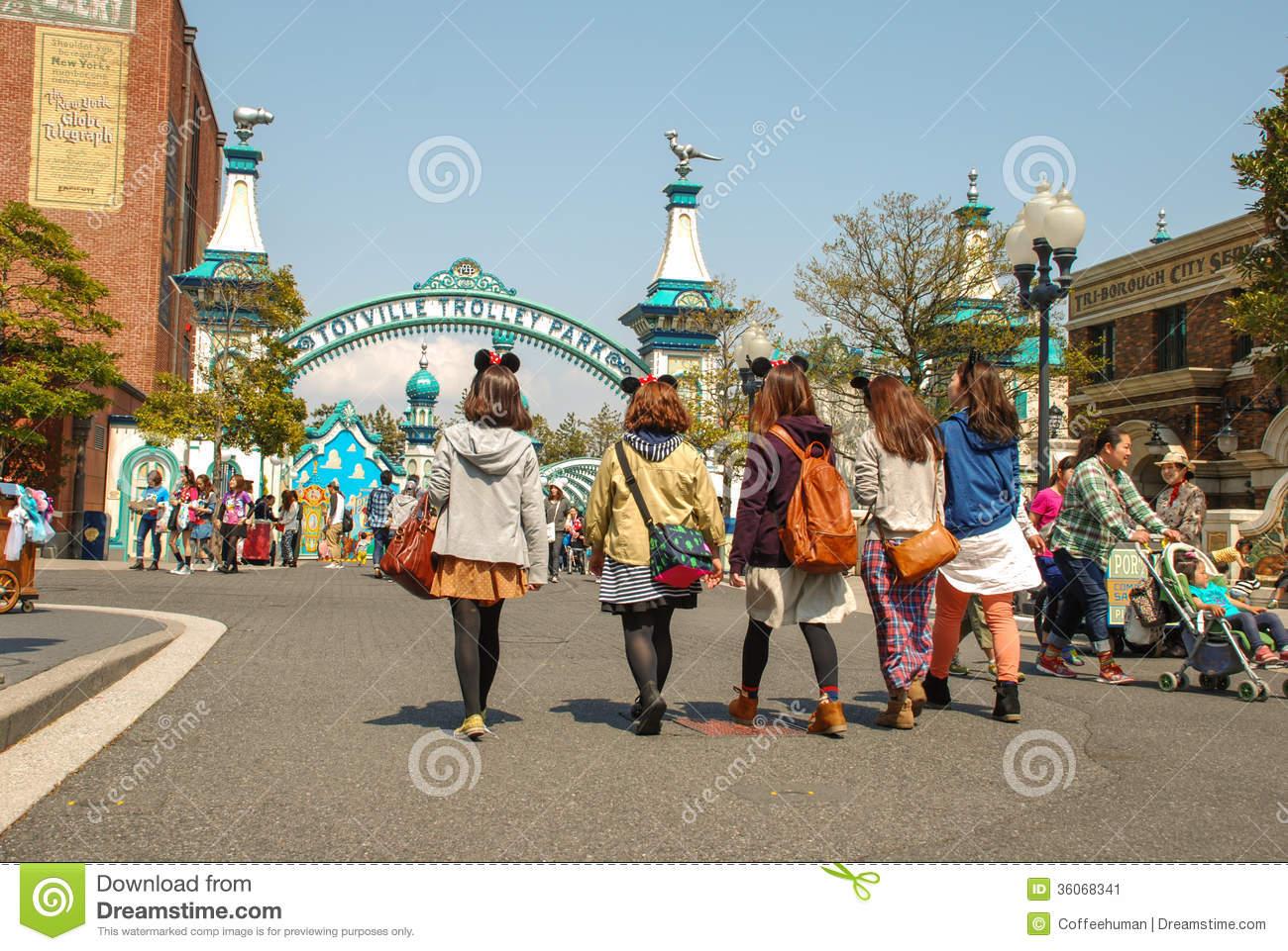 Children On The Walk In Tokyo Disney Sea. Editorial Photo.